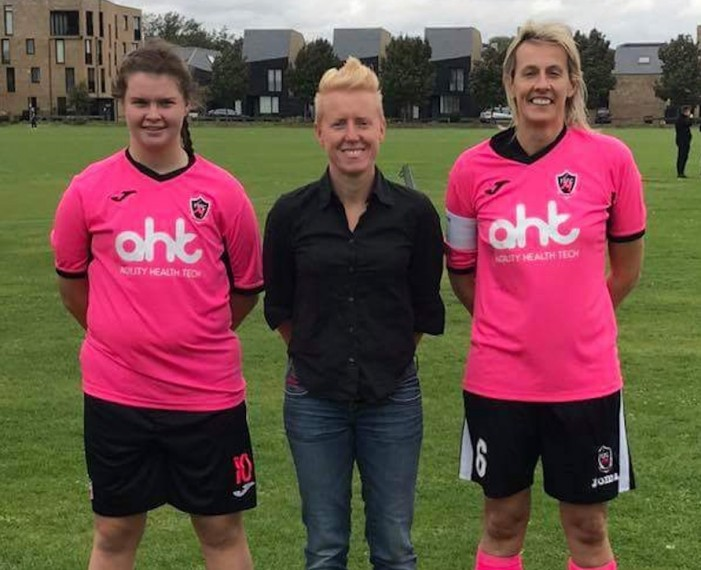 Local business woman sponsors Frontiers female football teams.
