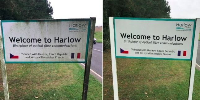 """Old Harlow councillor cleans up """"Welcome to Harlow"""" sign"""