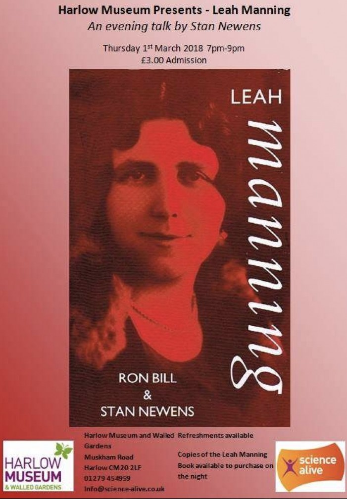 Harlow Museum to host talk on Leah Manning