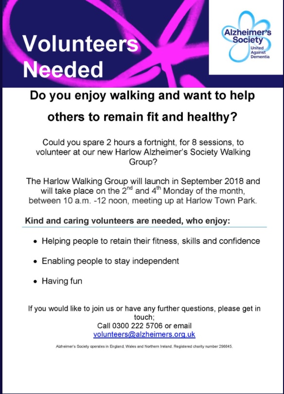 Volunteers needed for Alzheimers Walking Group