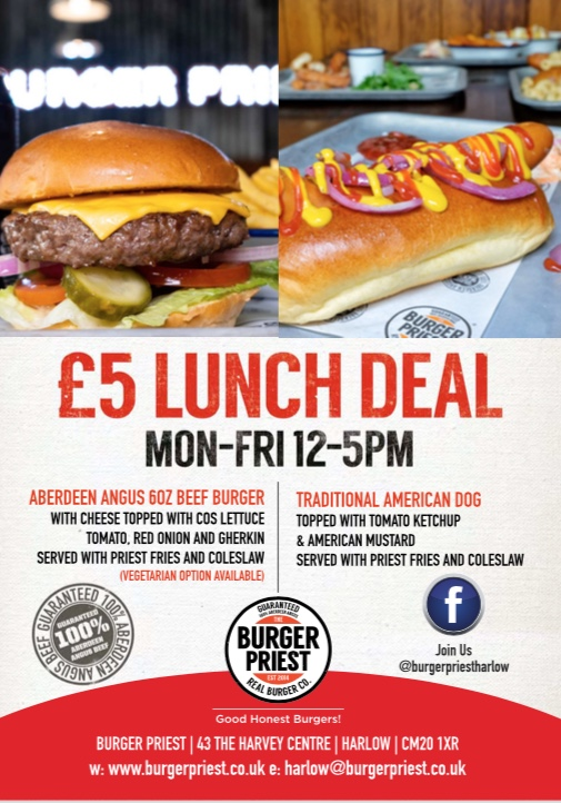 Great Burger Priest lunch deal on offer at the Harvey Centre