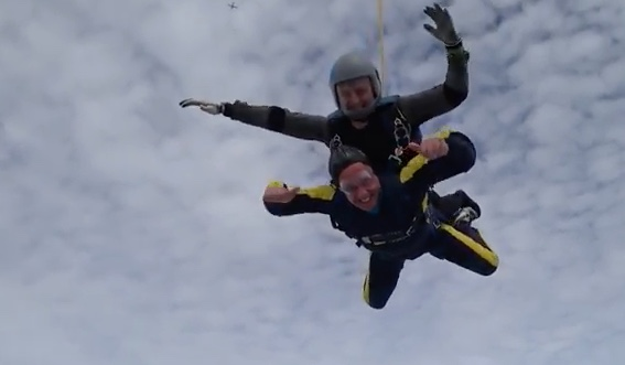 PHE's boss skydives for St Clare Hospice