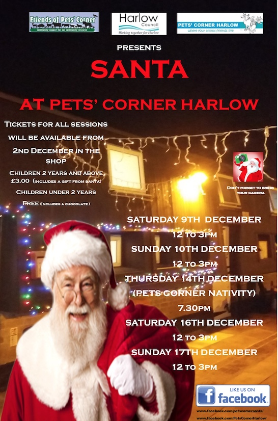 Come and visit Santa at Pet's Corner