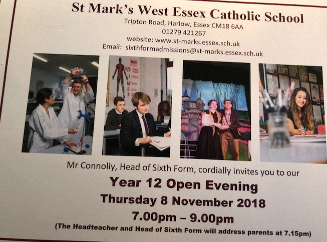 St Mark's West Essex Catholic School to hold Sixth Form Open Evening