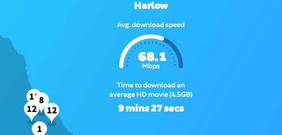 Harlow in top ten of fastest internet locations in UK