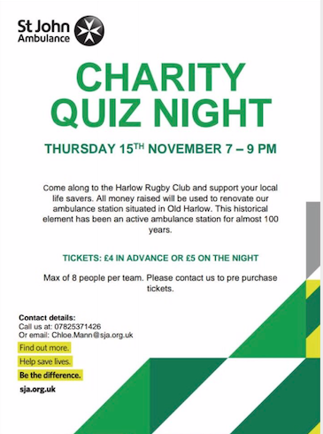 Charity Quiz Night for St John's Ambulance