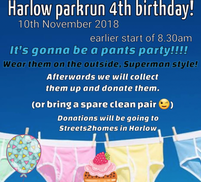 Harlow parkrun is pants as it is set to celebrate fourth birthday