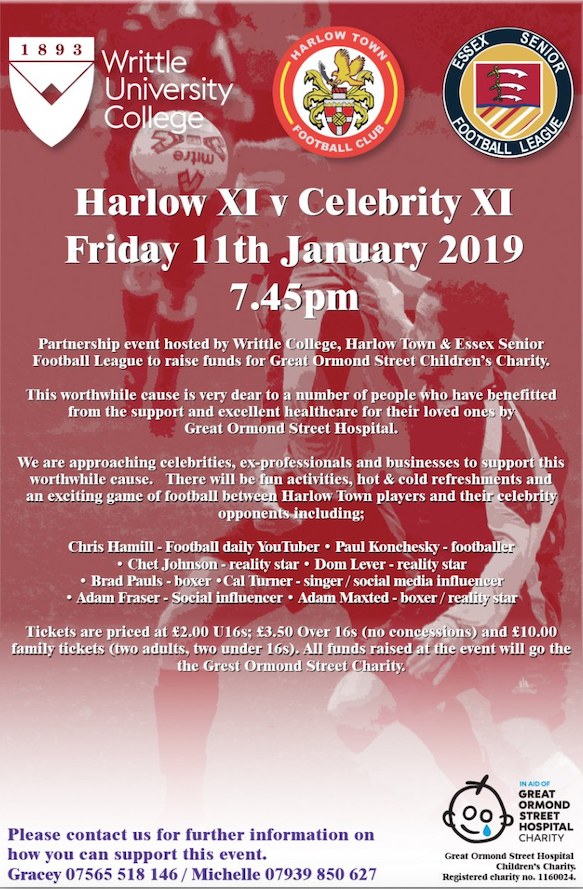 Harlow Town set to host charity event for Great Ormond Street with celebrities galore!