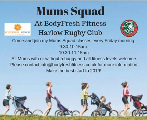 Great chance to get fit by joining the Mum's squad at Harlow Rugby Club.