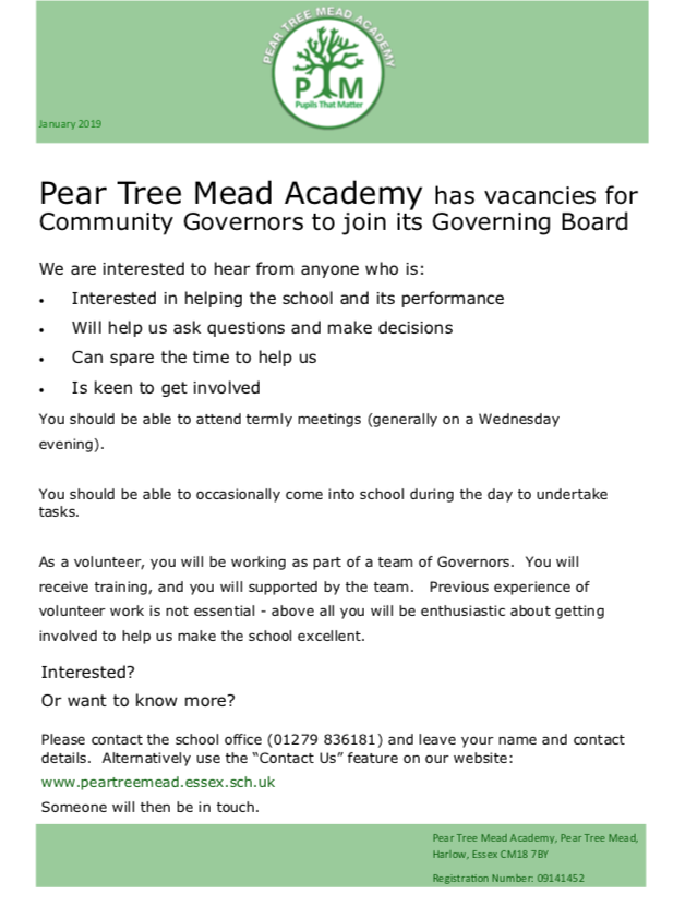 Would you like to be a governor at Pear Tree Mead Academy?