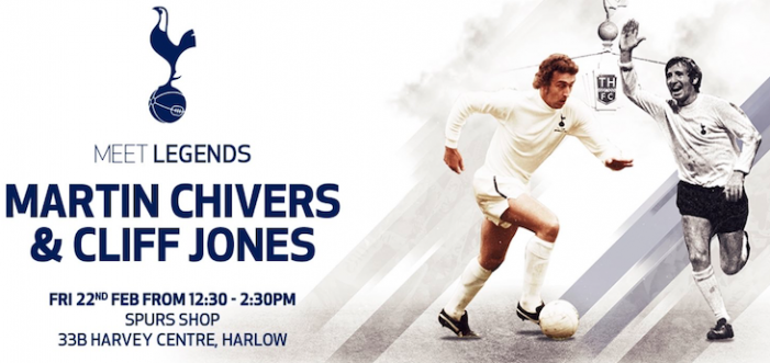Spurs legends to appear at Harvey Centre