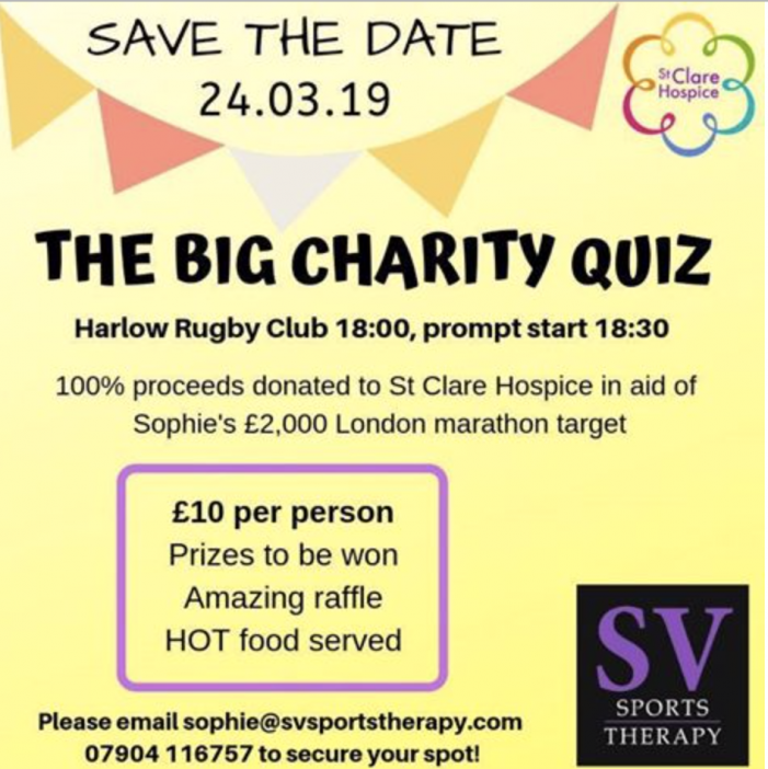 Quiz Night at Harlow Rugby Club as Sophie aims to run London Marathon for St Clare Hospice