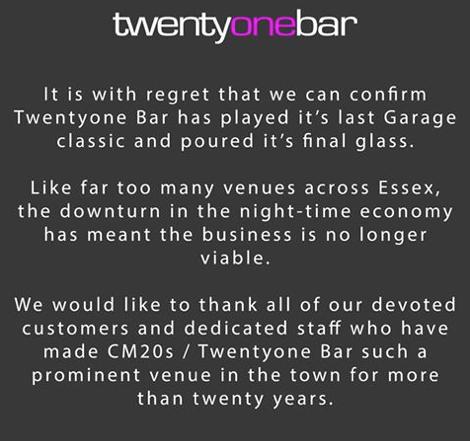 TwentyOne Bar in Harlow announce its closure - Your Harlow
