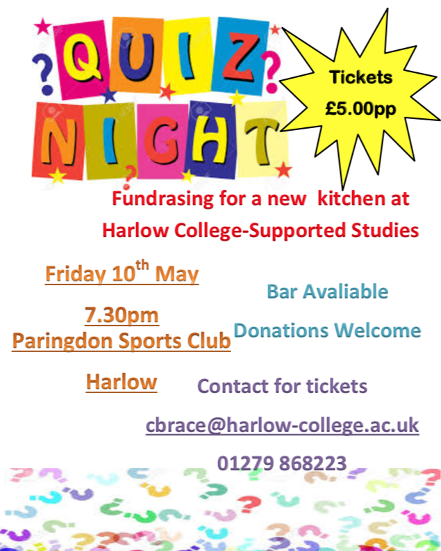 Quiz Night for new kitchen at Harlow College's Supported Studies