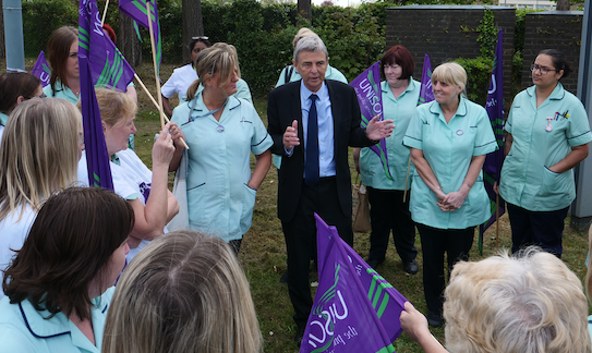 Princess Alexandra domestic cleaners joined by union bosses in protest outside hospital