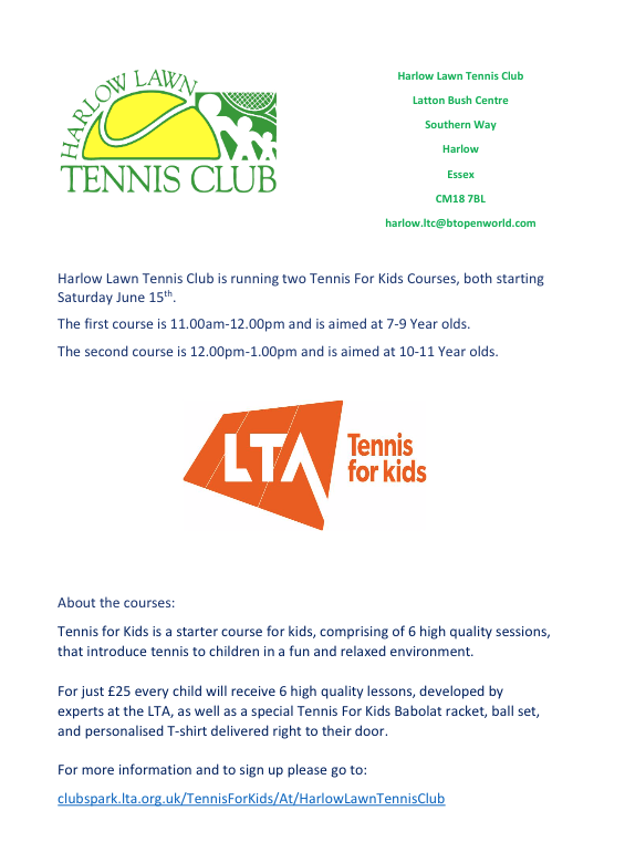 Harlow Tennis Club to run Tennis for Kids sessions