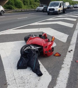 Did you see this red motorbike in crash on M11