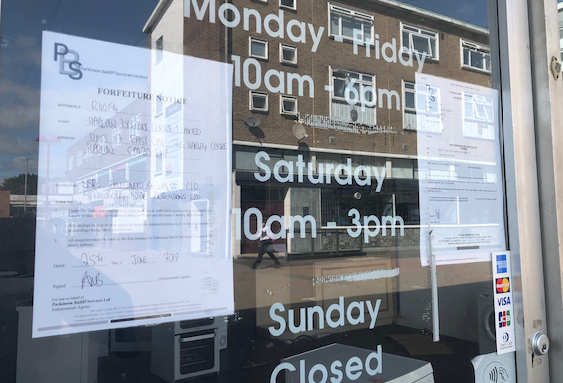 Bailiffs seize ownership of Domestic Home Appliance shop in town centre