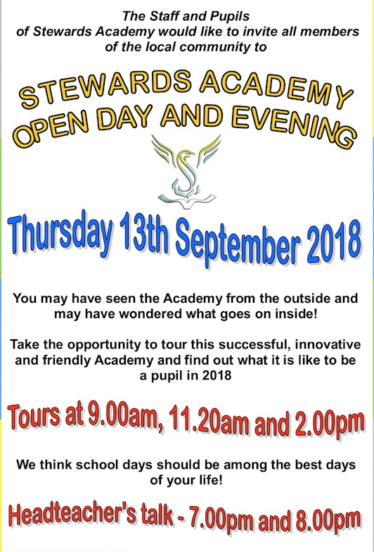 Stewards Academy to host Open Day and Evening