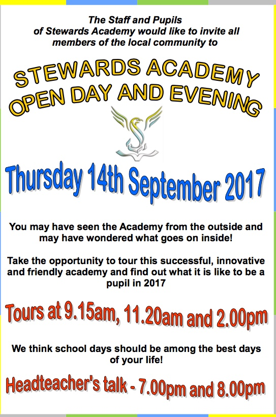 Stewards Academy invite you to their Open Day and Evening