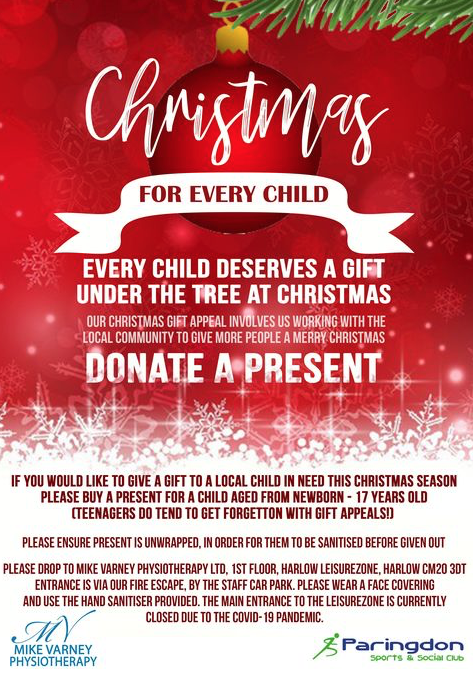Help Mike Varney Physiotherapy and Paringdon Sports Club  organise annual toy collection