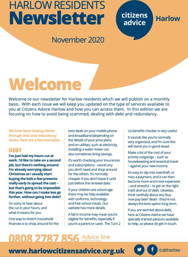 Citizens Advice Bureau Harlow: Monthly Newsletter