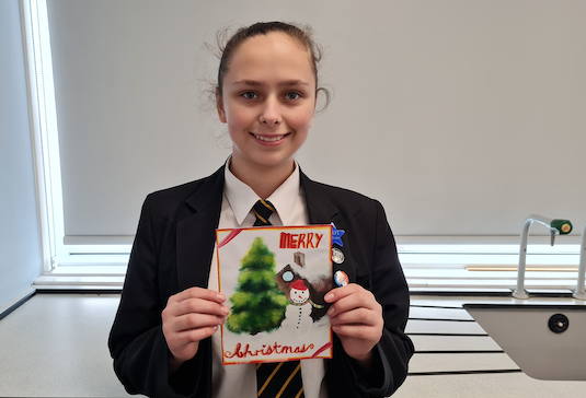 Burnt Mill Academy students'  Christmas cards used by mental health charity