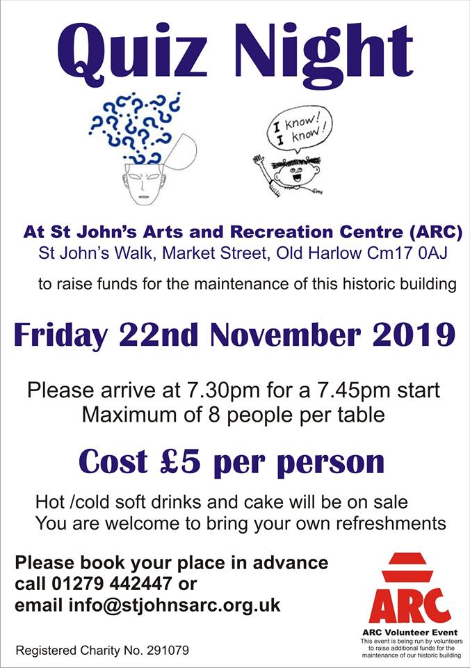 Quiz Night at St John's Arc Centre in Old Harlow