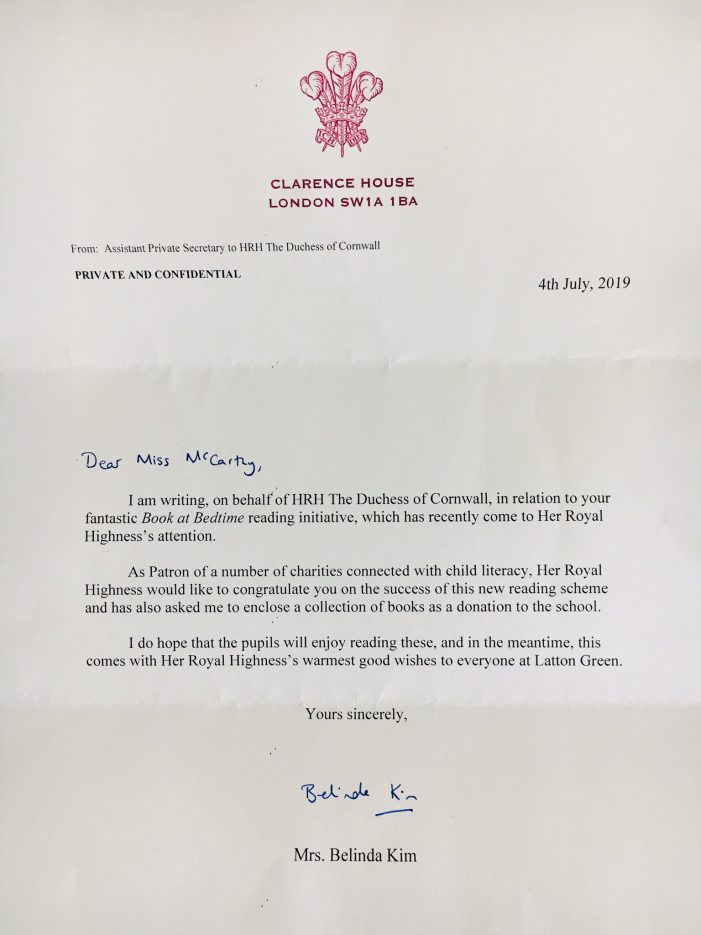 Latton Green Primary receives letter on behalf of the Duchess of Cornwall