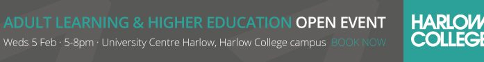Discover wide range of Higher Education opportunities available at  Harlow College
