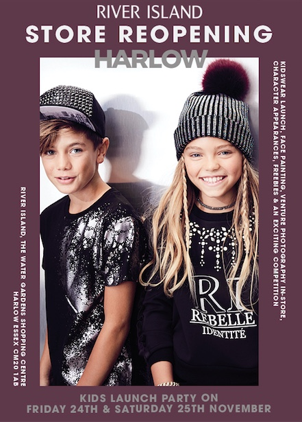 Harlow's River Island to relaunch introducing new Kidswear range