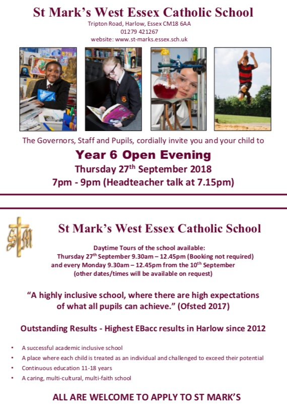 St Marks West Essex Catholic School: Open Day and Evening