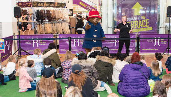 Paddington Bear entertains the children at the Harvey Centre