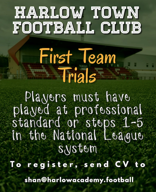 Football: Harlow Town FC invite potential players for a trial