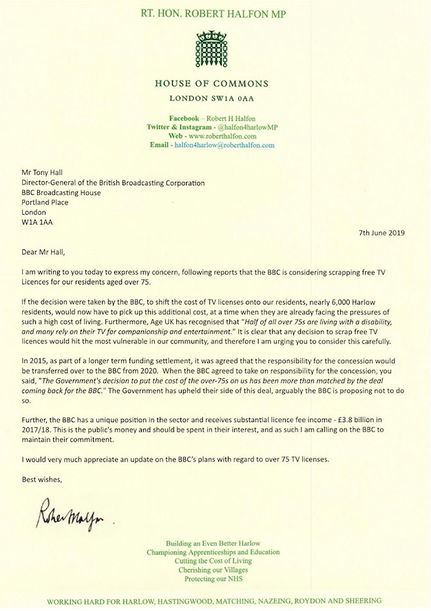 Robert Halfon writes to BBC over TV Licence Fee