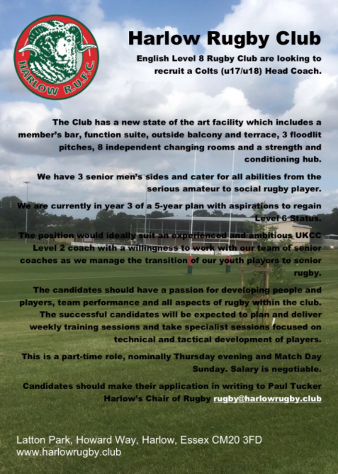 Harlow Rugby Club look for new Colts coach