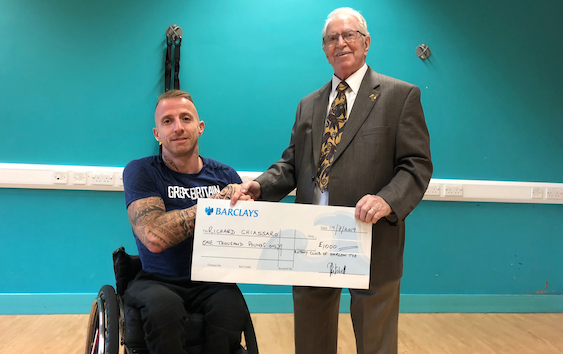 Paralympian Richard Chiassaro receives cash boost from Harlow Tye Rotary