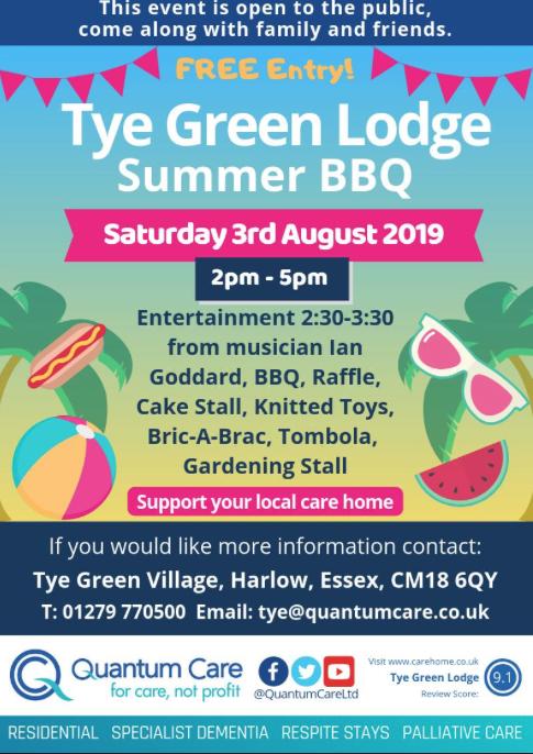 Tye Green Lodge to host summer barbecue