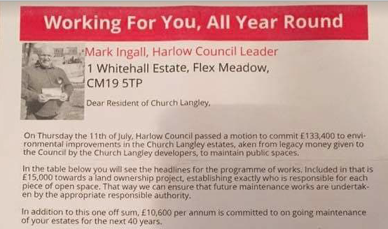 Church Langley residents angry at Harlow Labour leaflet.