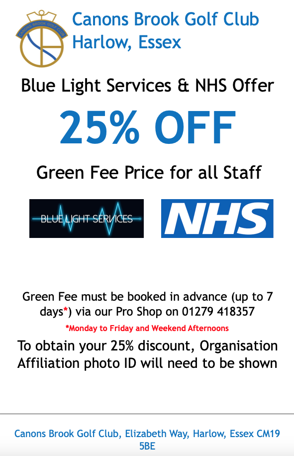 Canons Brook Golf Club offer to Blue Light Services and NHS