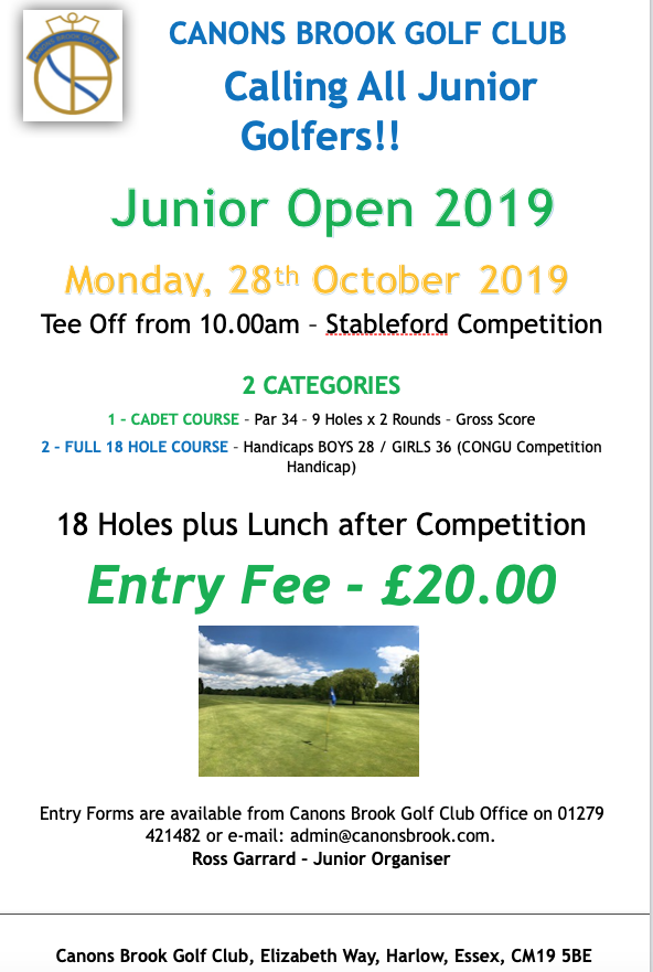Canons Brook: Calling all Junior Golfers