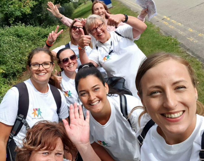 College staff walk from Stansted to Harlow to raise money for Archie