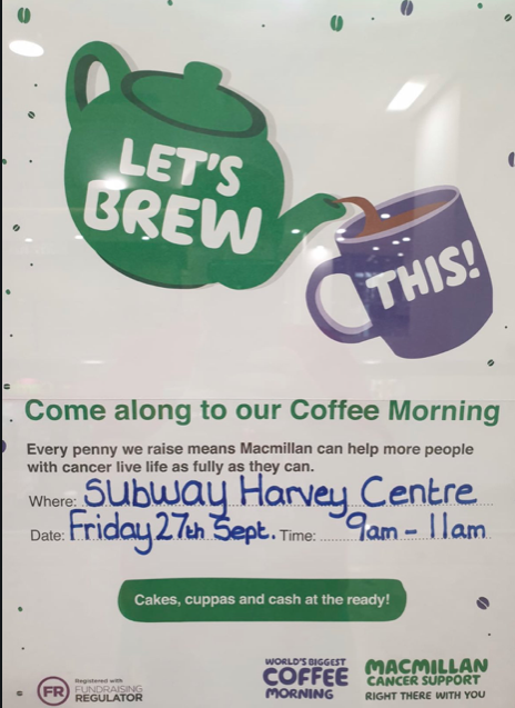 Subway in the Harvey Centre to host MacMillan Coffee Morning