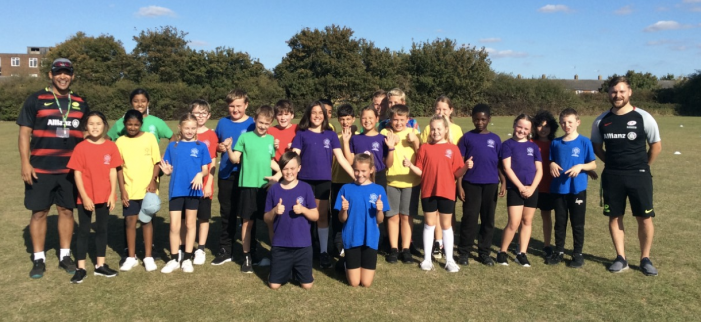 Saracens rugby visit Jerounds Primary