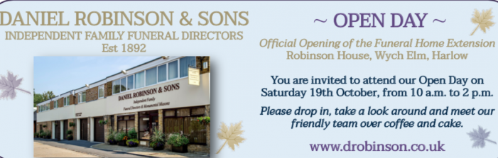 Harlow Funeral Directors Daniel Robinson to host Open Day