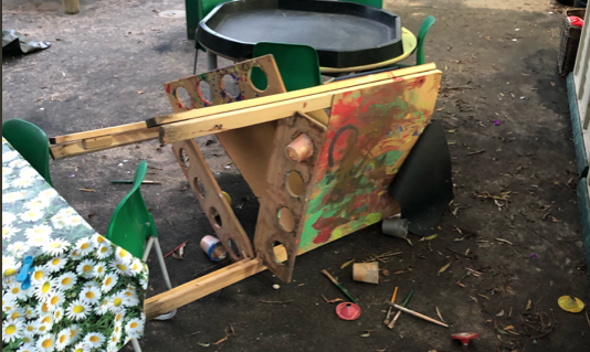 Mindless vandals damage play equipment at Cooks Spinney