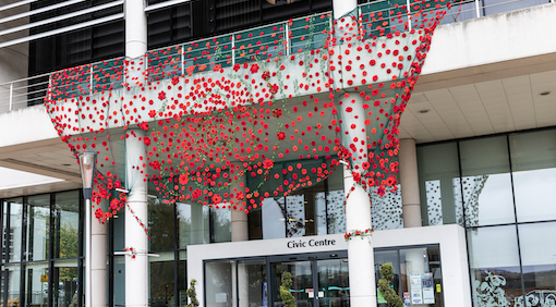 Display of poppies cascade from Harlow's Civic Centre