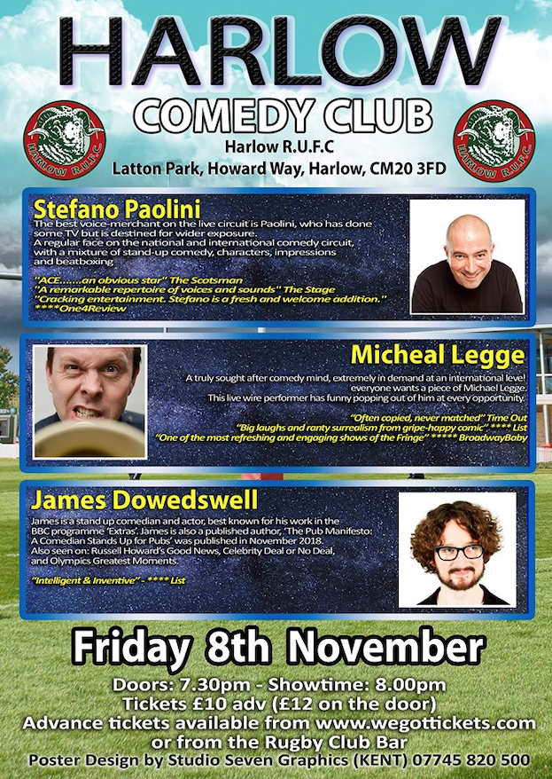 Latton Park: Comedy nights return to Harlow Rugby Club