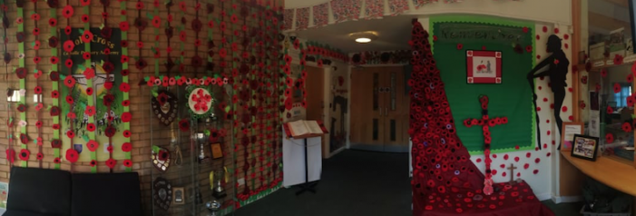 Holy Cross Primary children and families make over 1,000 poppies