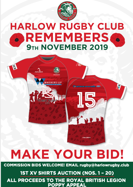Harlow Rugby Club  to wear and then auction special shirts as part of support for Poppy Appeal
